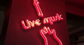 """Светеща реклама """"Live Music"""" червен неон"""