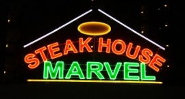 """Неонова реклама ресторант """"Marvel"""" Слънчев бряг"""